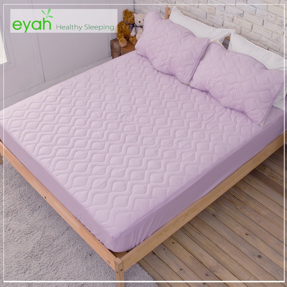 【eyah】台灣製純色加厚舖棉保潔墊床包式雙人-魅力紫