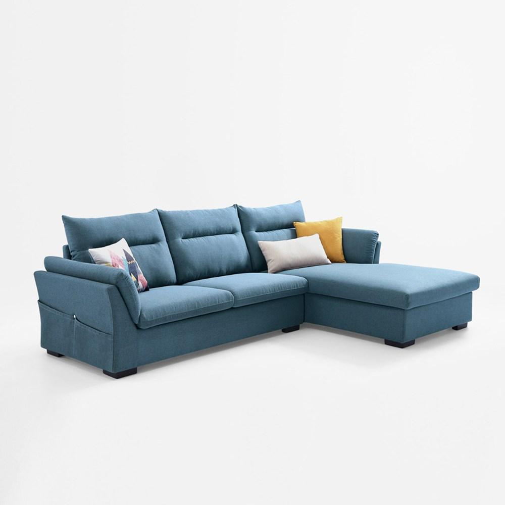 林氏木業簡約現代側邊儲物左L三人布沙發(附抱枕)S016-孔雀藍
