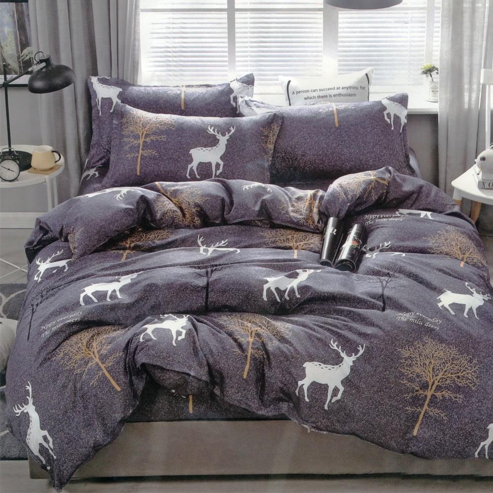 BEDDING-活性印染四件式全鋪棉兩用被床包組-鹿回頭(雙人)