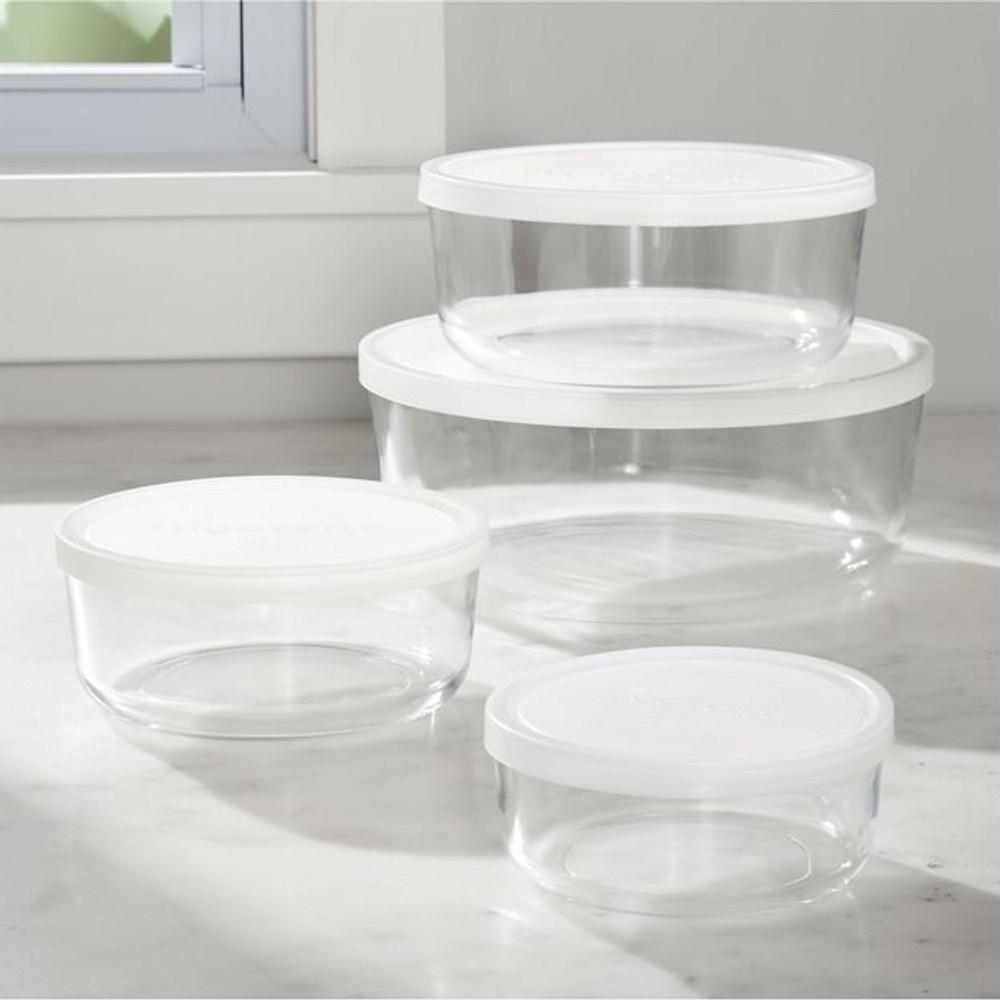 Crate&Barrel Round 圓形玻璃保鮮盒  4入