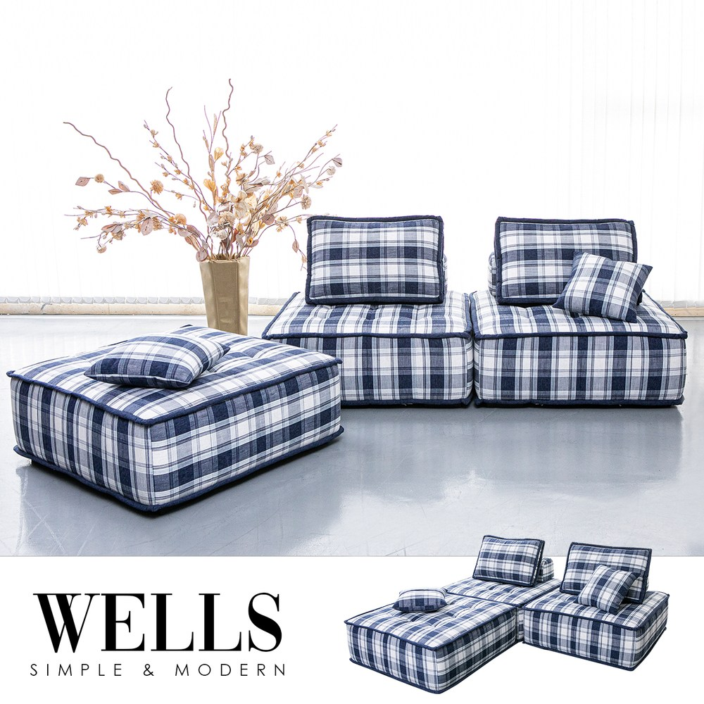 【obis】Wells威爾斯單人座格子沙發(105公分)
