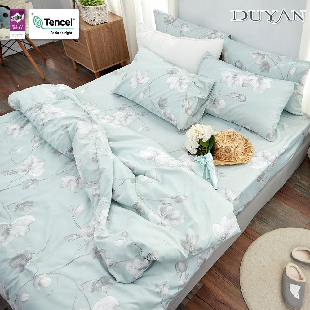 《DUYAN 竹漾》天絲雙人床包三件組-淺青花語 台灣製