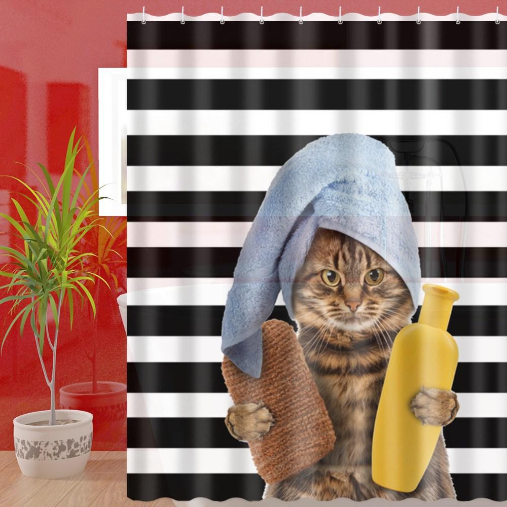 繽紛特級加厚防潑水浴簾(貴妃貓)