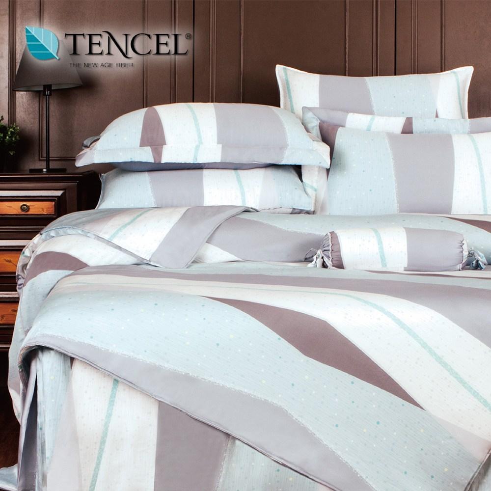 【貝兒居家寢飾生活館】100%天絲全鋪棉床包兩用被四件組(雙人/安格爾)