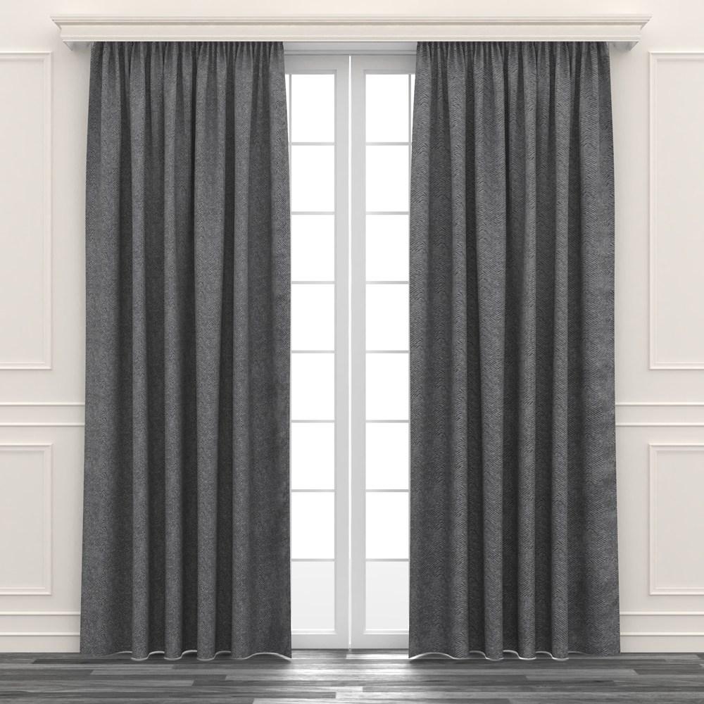 人字緹花遮光窗簾 寬200x高165cm 灰色款