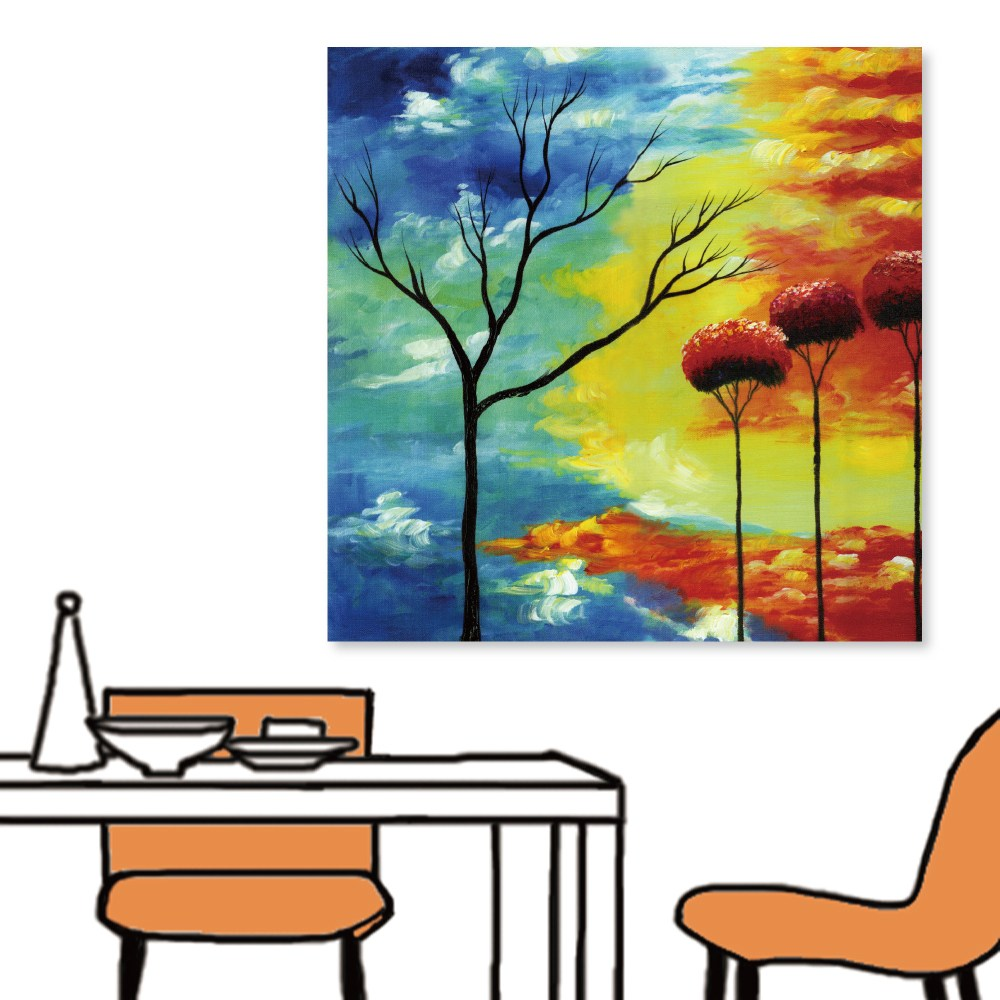 24mama掛畫-單聯式 樹木 對比 藍紅 抽象無框畫-40x40cm