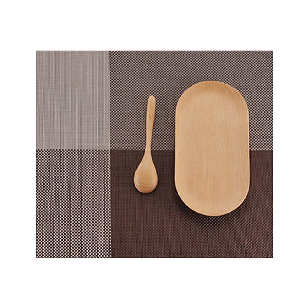 咖啡色方格加厚PVC防滑隔熱餐墊