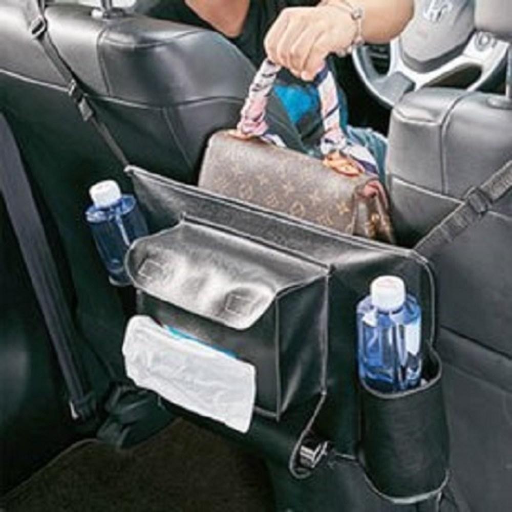 優質皮革汽車椅座置物網收納網(大容量)