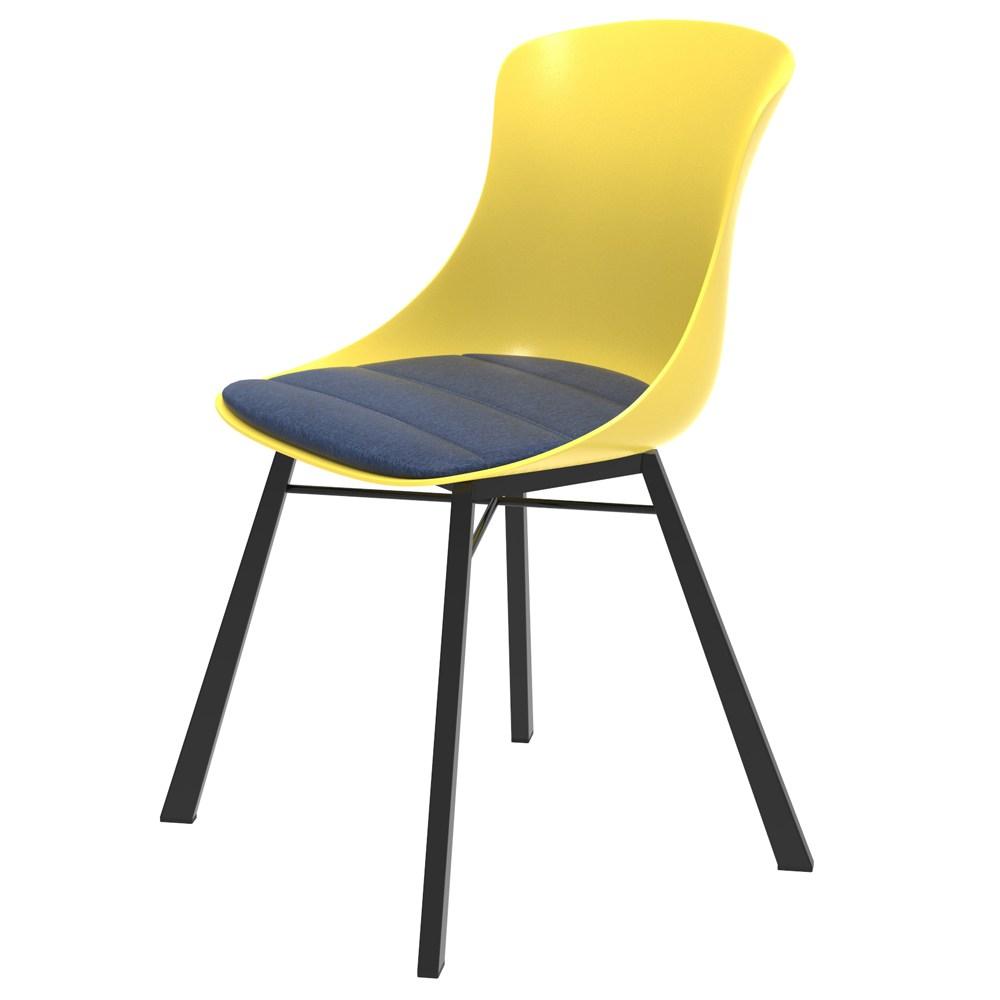 組 - 特力屋萊特 塑鋼椅 黑金屬腳/黃椅背/丹寧座墊