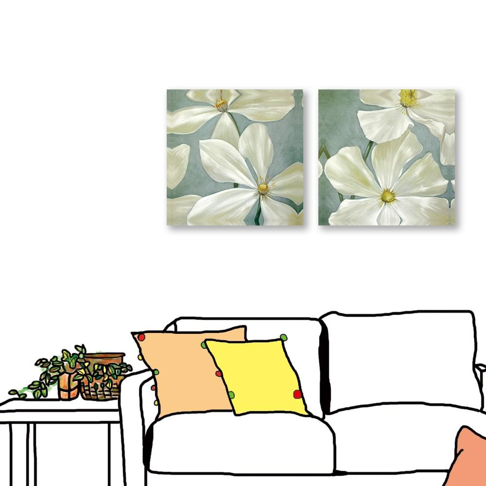24mama掛畫 二聯式 花卉 白花 油畫風無框畫 30X30cm