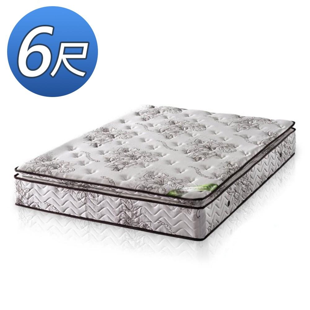顛覆設計 正三線乳膠涼爽舒柔布硬式獨立筒床墊-雙人加大6尺