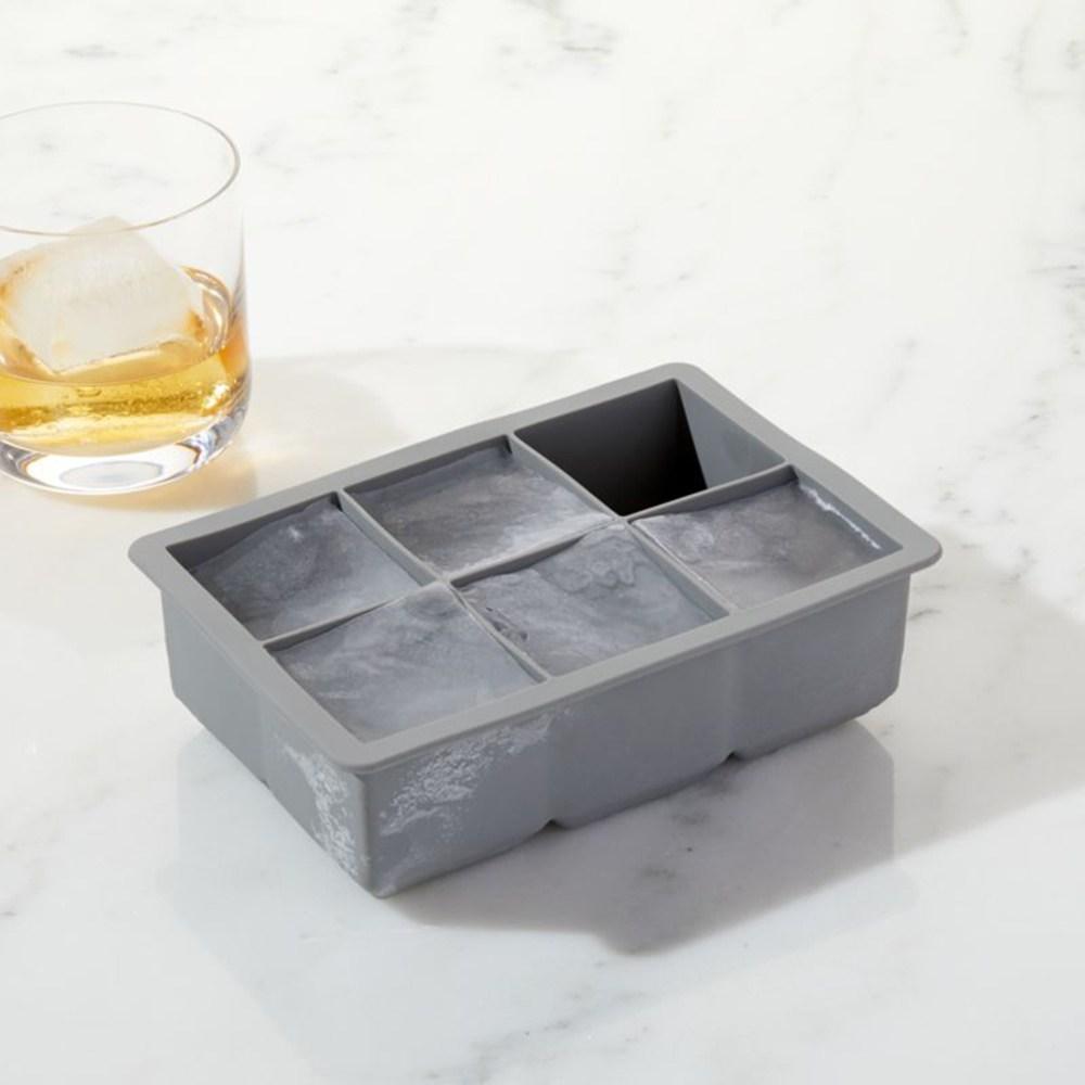 Crate&Barrel Jumbo 矽膠冰塊六入盒 灰