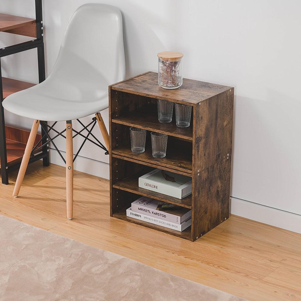 樂嫚妮 二層收納空層櫃-層板可抽-仿木色2入組仿木