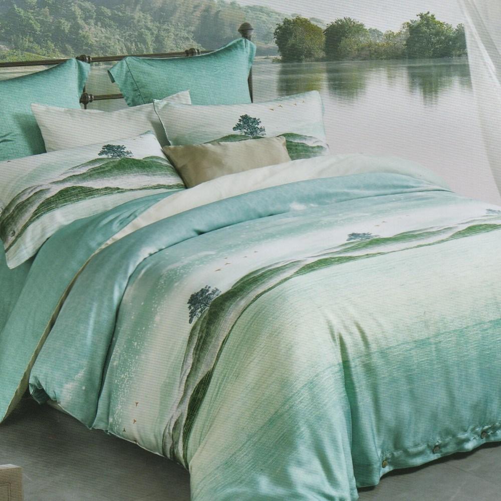 【eyah】60支萊賽爾天絲300織鋪棉兩用被加大床包四件組-青語