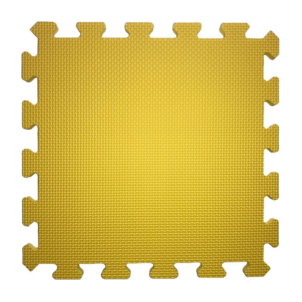 素色安全地墊30x30x1cm 6入-檸檬黃