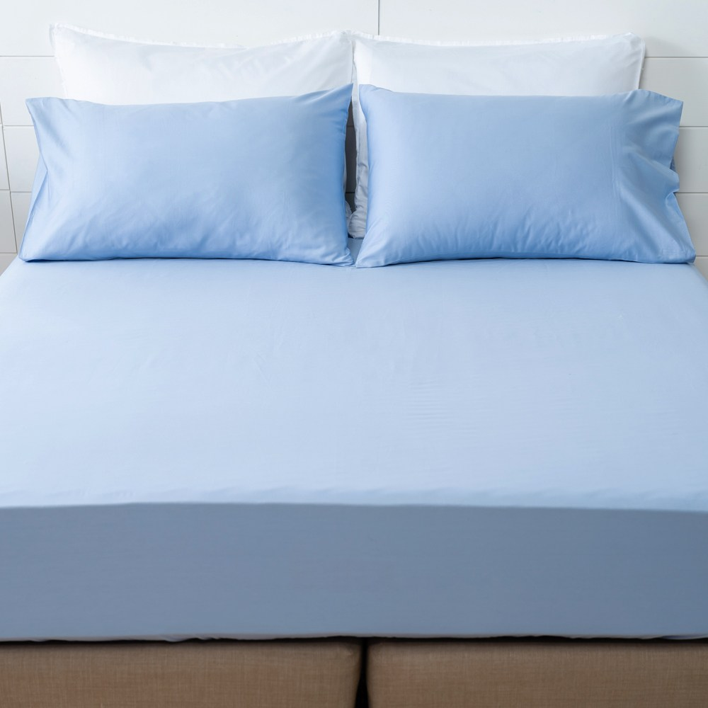 HOLA 經典素色純棉床包 雙人 灰藍色
