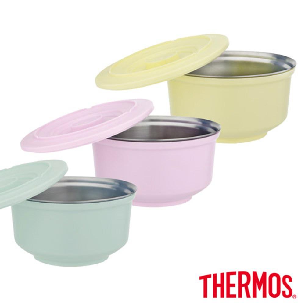【THERMOS膳魔師】不鏽鋼兩用粉彩隔溫碗1.05L(A-DBOWL薄荷綠
