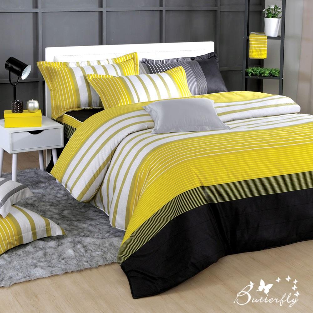 【BUTTERFLY】台製40支紗純棉-加高30cm薄式單人床包枕套二件組-舞動青春-黃