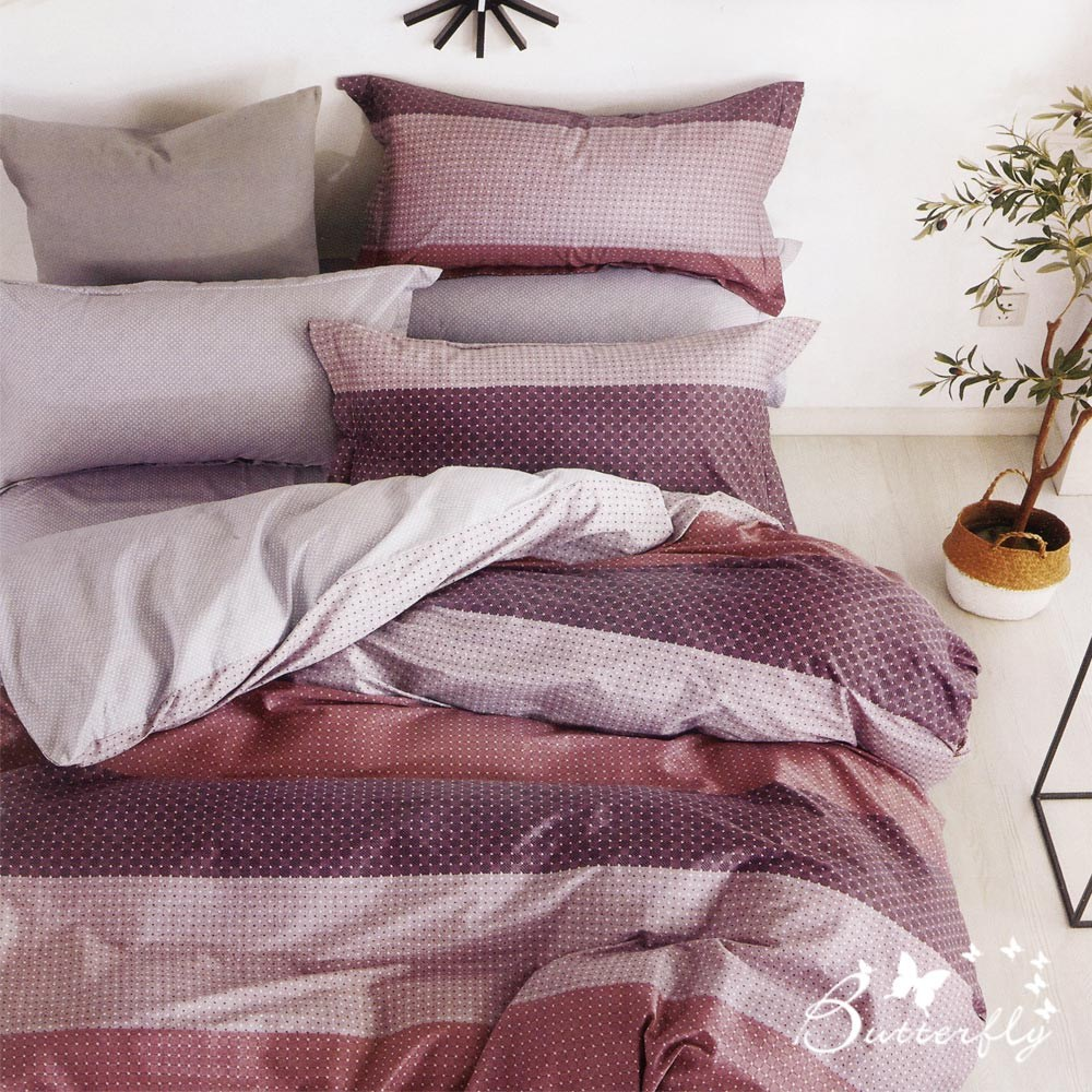 BUTTERFLY-台製純棉三件式枕套床包組-魅力城-紅(特大)