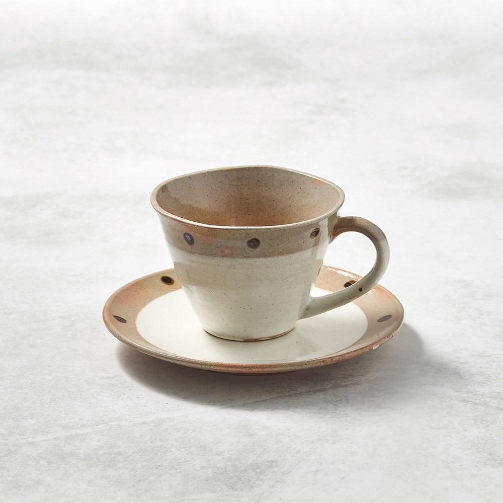 【有種創意】日本美濃燒 - 寬口咖啡杯碟組 - 摩卡點點