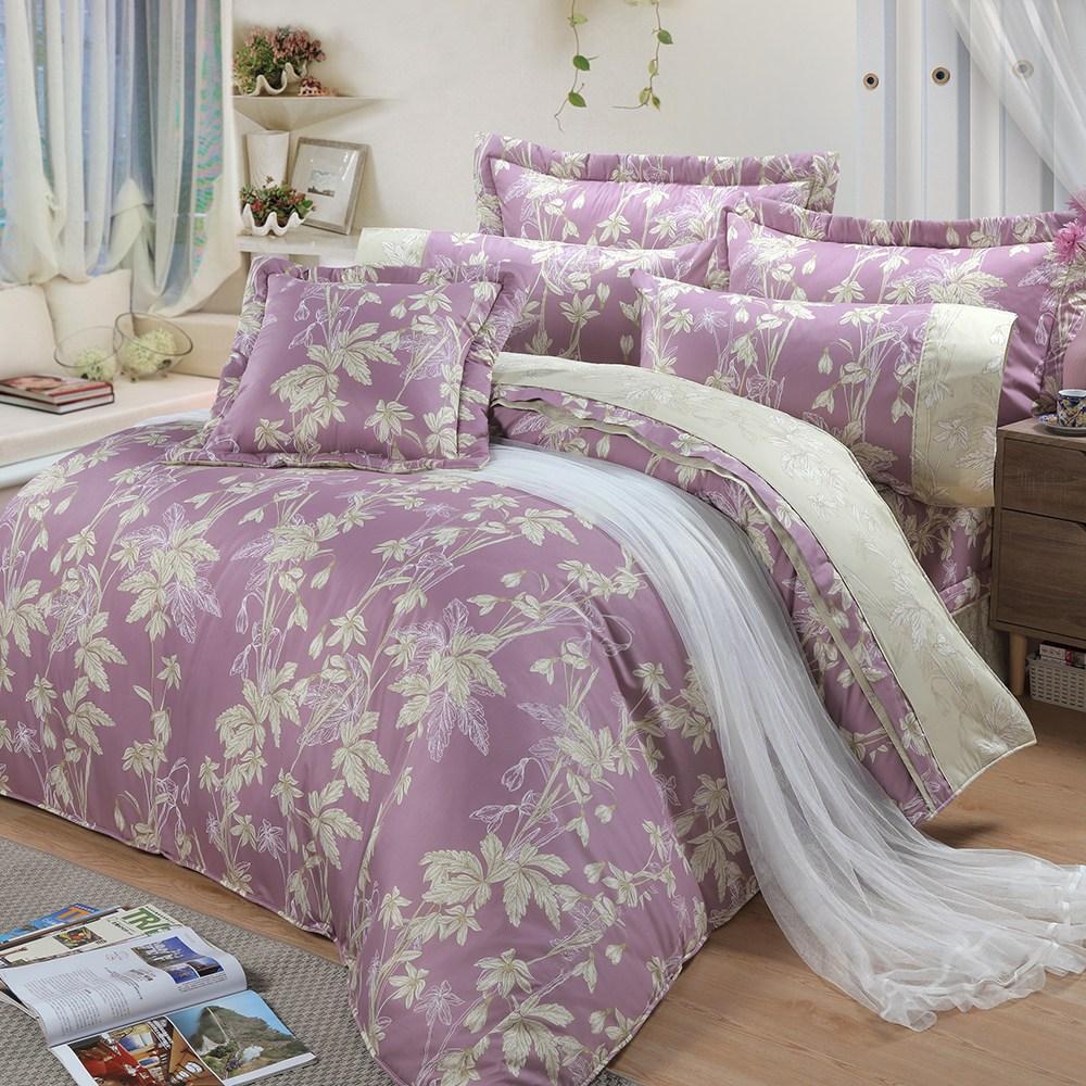 【FITNESS】精梳棉雙人七件式床罩組-緲緲煙花(紫)5*6.2