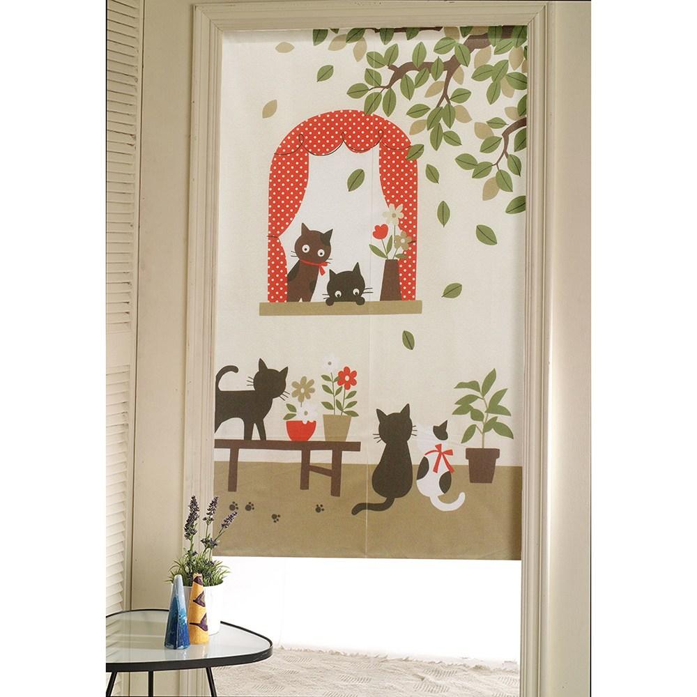 【三房兩廳】日式門簾-幸福貓-85x150cm