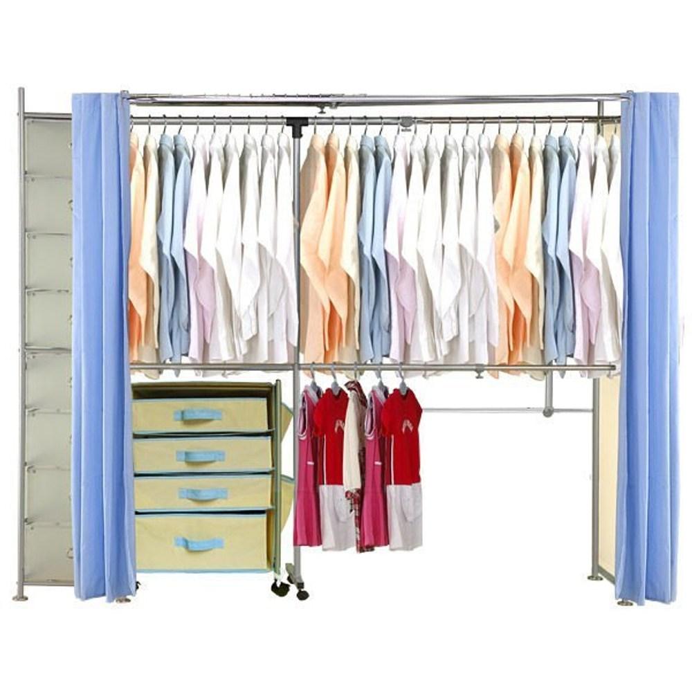 巴塞隆納─AH-28伸縮衣櫥 前布簾水藍色不織布