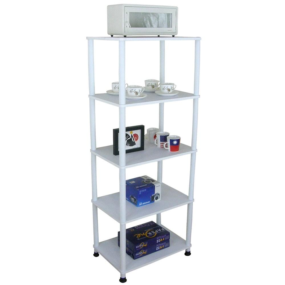 【頂堅】五層長管-置物架/電器架/收納架-寬60x深40公分-三色可選素雅白色