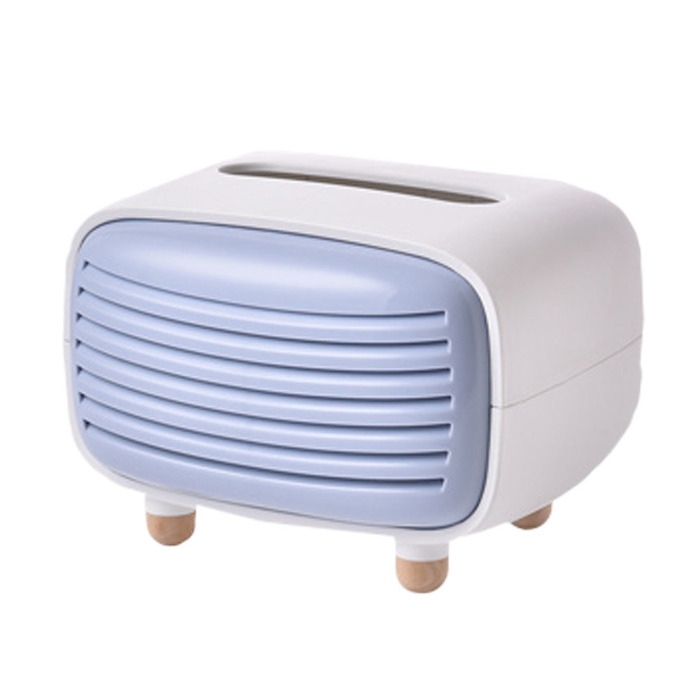 【三房兩廳】文創有竹炭功能收音機造型面紙盒//紙巾盒(藍色)