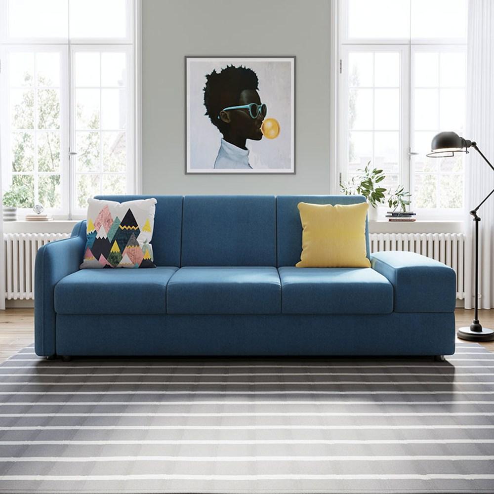 林氏木業簡約現代多功能儲物右三人布沙發床(附抱枕)1004 V2-藍色