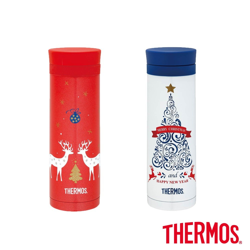 【THERMOS膳魔師】聖誕不鏽鋼真空保溫杯0.3L(JNC-300)白色聖誕樹