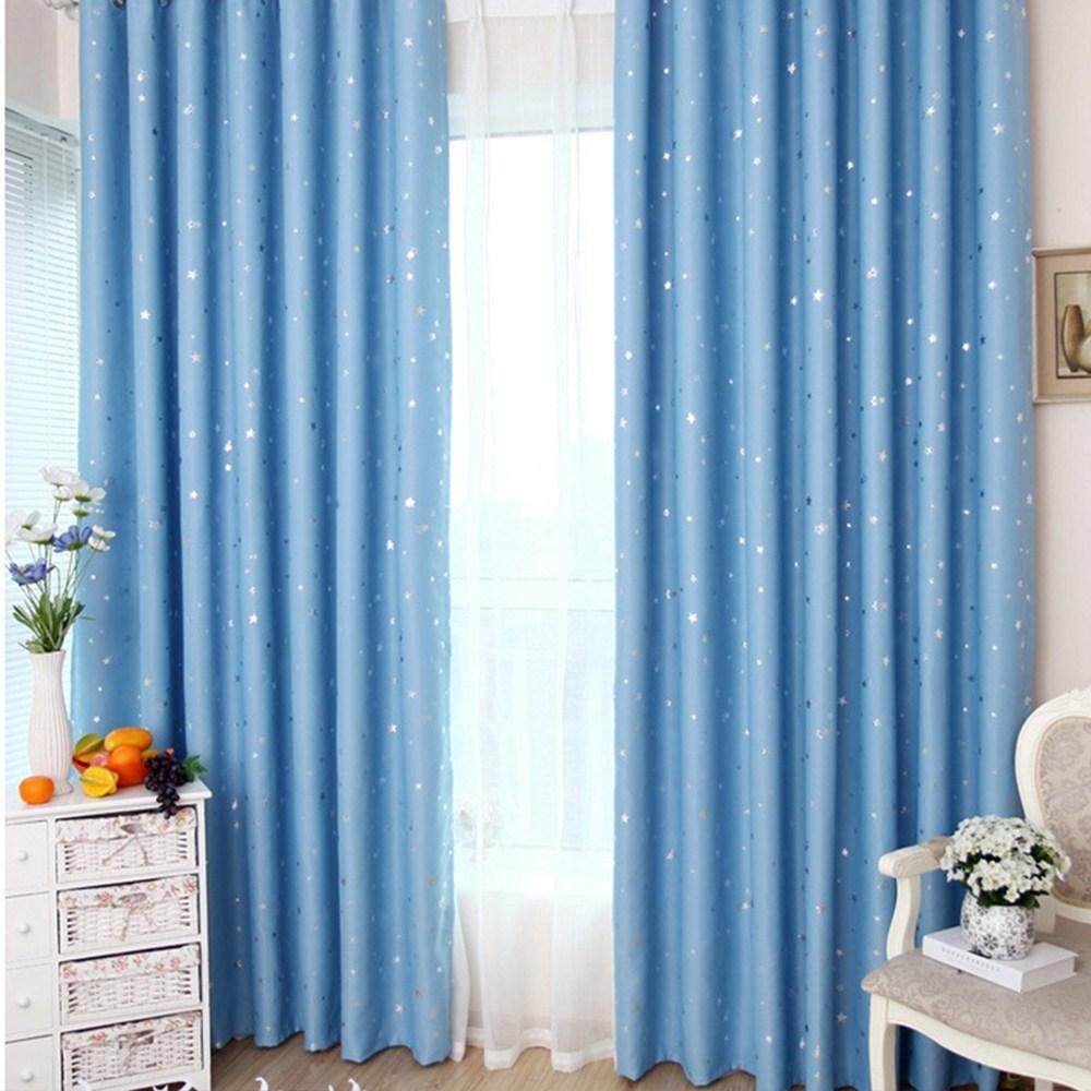【三房兩廰】滿天星遮光窗簾(寬130*高165cm*2片) 天藍色