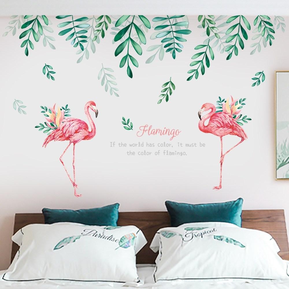 【Loviisa 綠蔭與紅鶴】無痕壁貼 壁紙