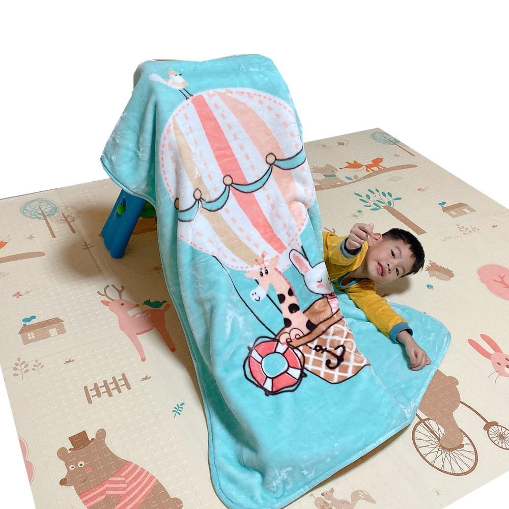 【Leafbaby】 幼兒冬天保暖法蘭雲貂絨兒童蓋毯-歡聚熱氣球