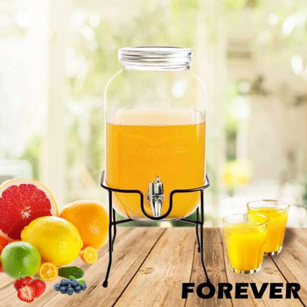 【日本FOREVER】夏天必備派對玻璃果汁飲料桶(含桶架)4L