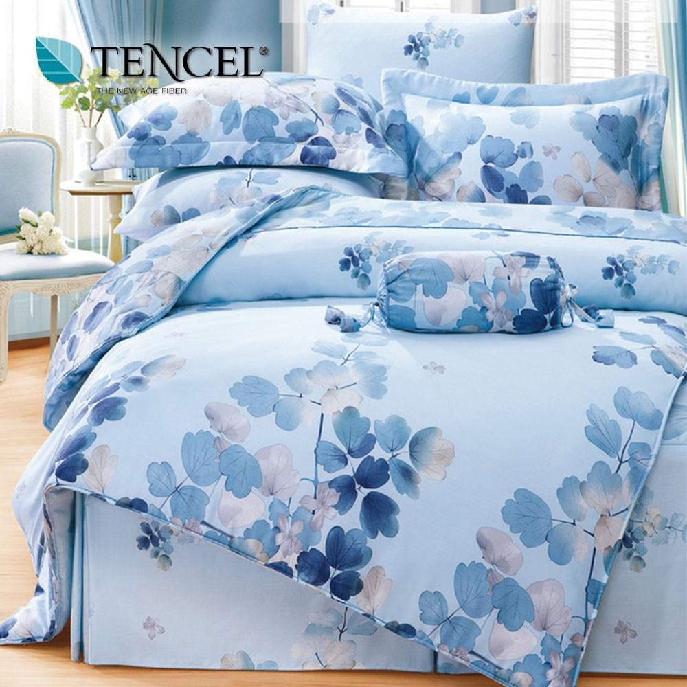 【貝兒居家寢飾生活館】頂級100%天絲床罩鋪棉兩用被七件組(雙人/卉影藍)
