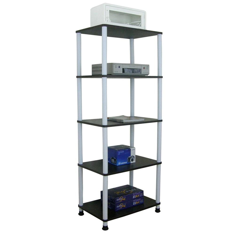 【頂堅】五層長管-置物架/電器架/收納架-寬60x深40公分-三色可選深胡桃木色
