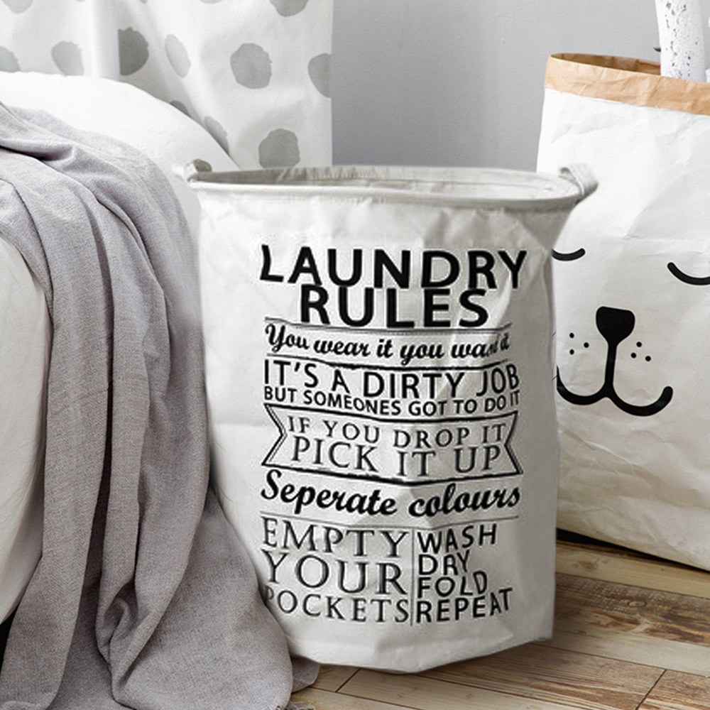 【收納職人】清新簡約英文棉麻大容量收納桶/洗衣籃(圓桶Laundry)