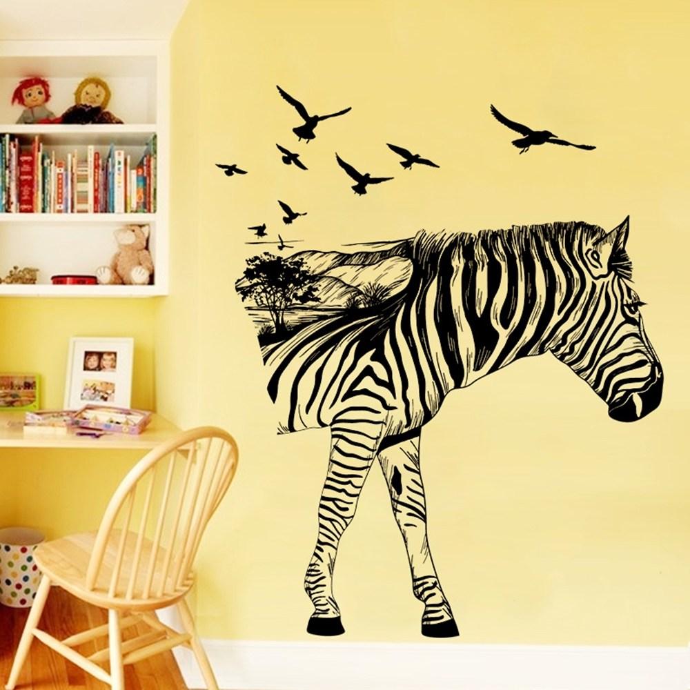 【Loviisa 非洲斑馬】無痕壁貼 壁紙