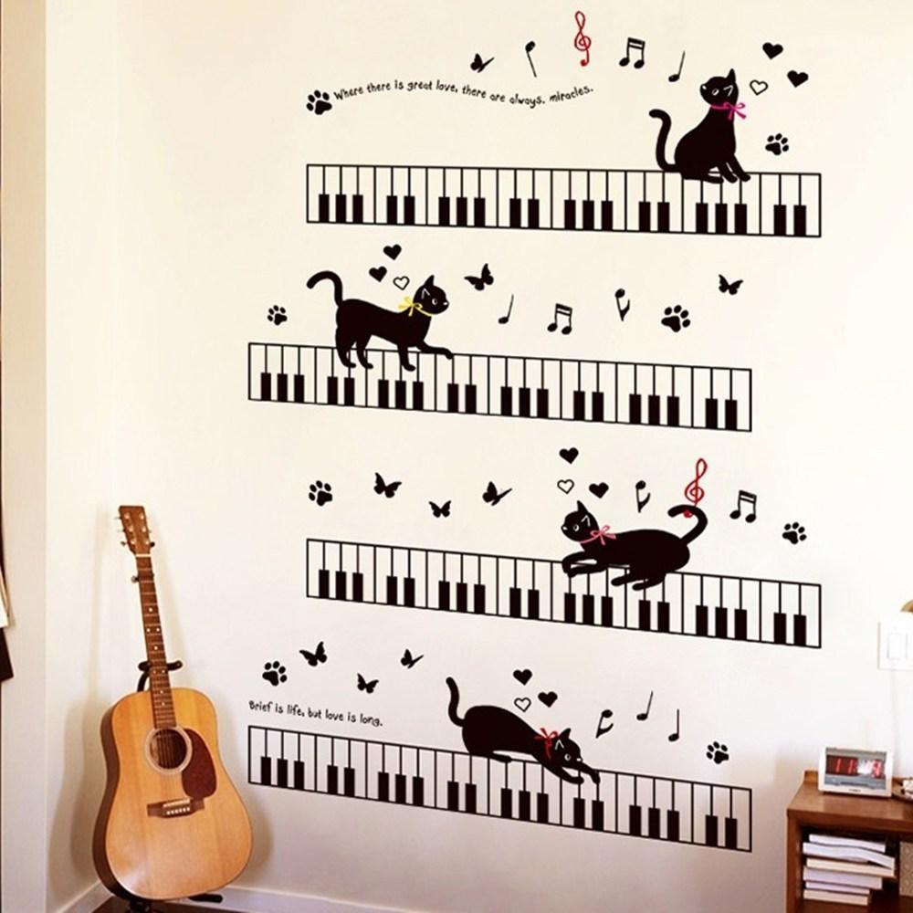 【Loviisa 音符與貓】無痕壁貼 壁紙