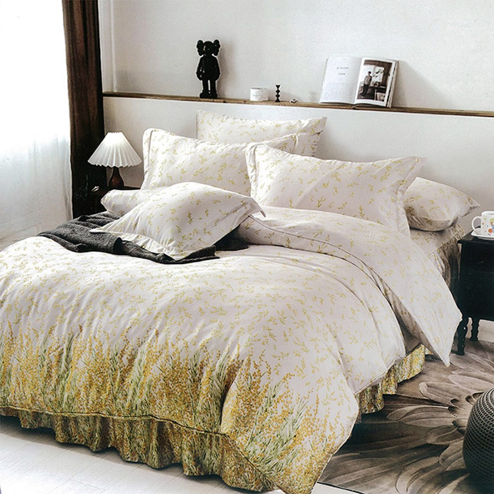 【Indian】100%純天絲雙人四件式鋪棉床包兩用被組-艾琳夢境5*6.2