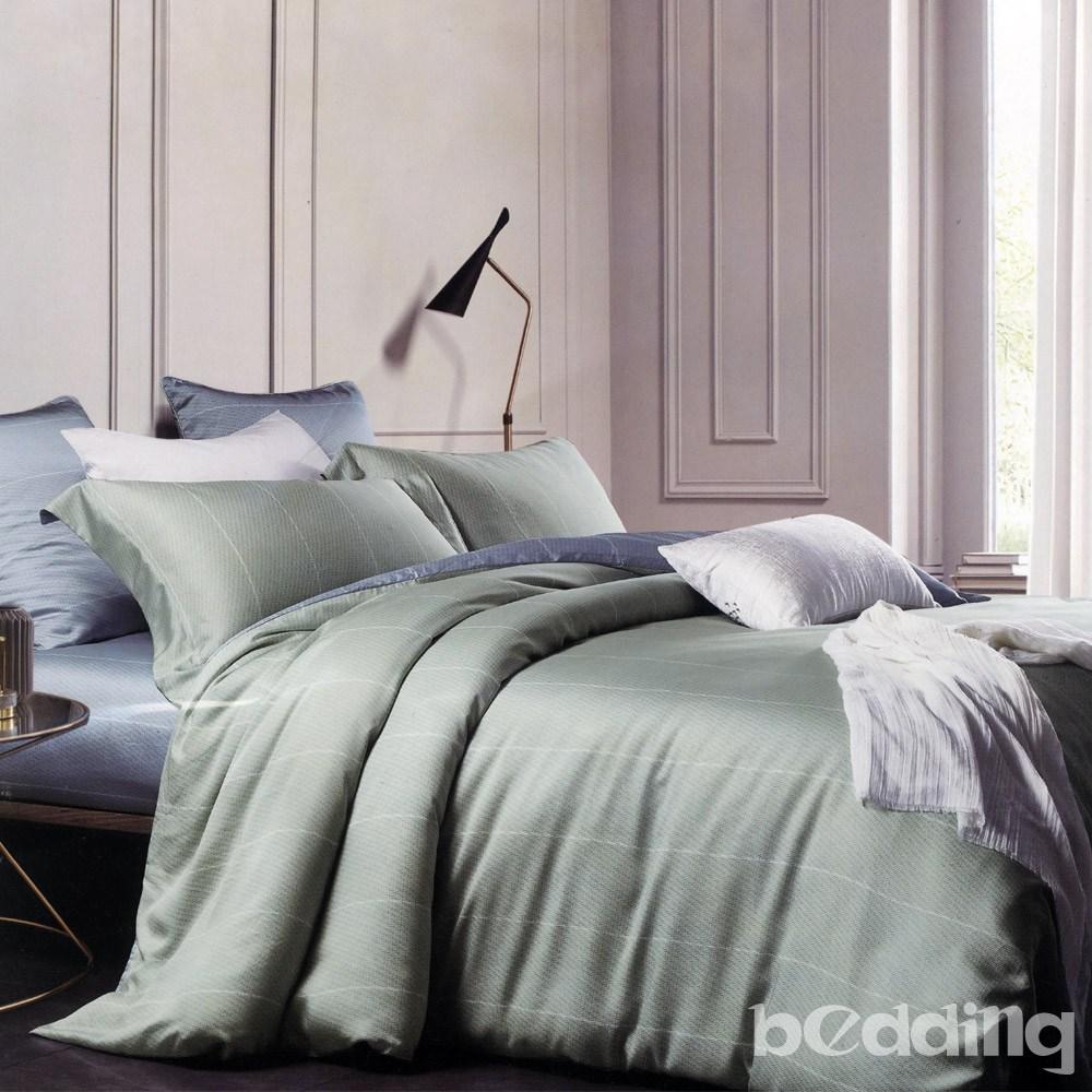 BEDDING-60支100%天絲-雙人薄床包鋪棉兩用被套四件組萊卡-淺綠