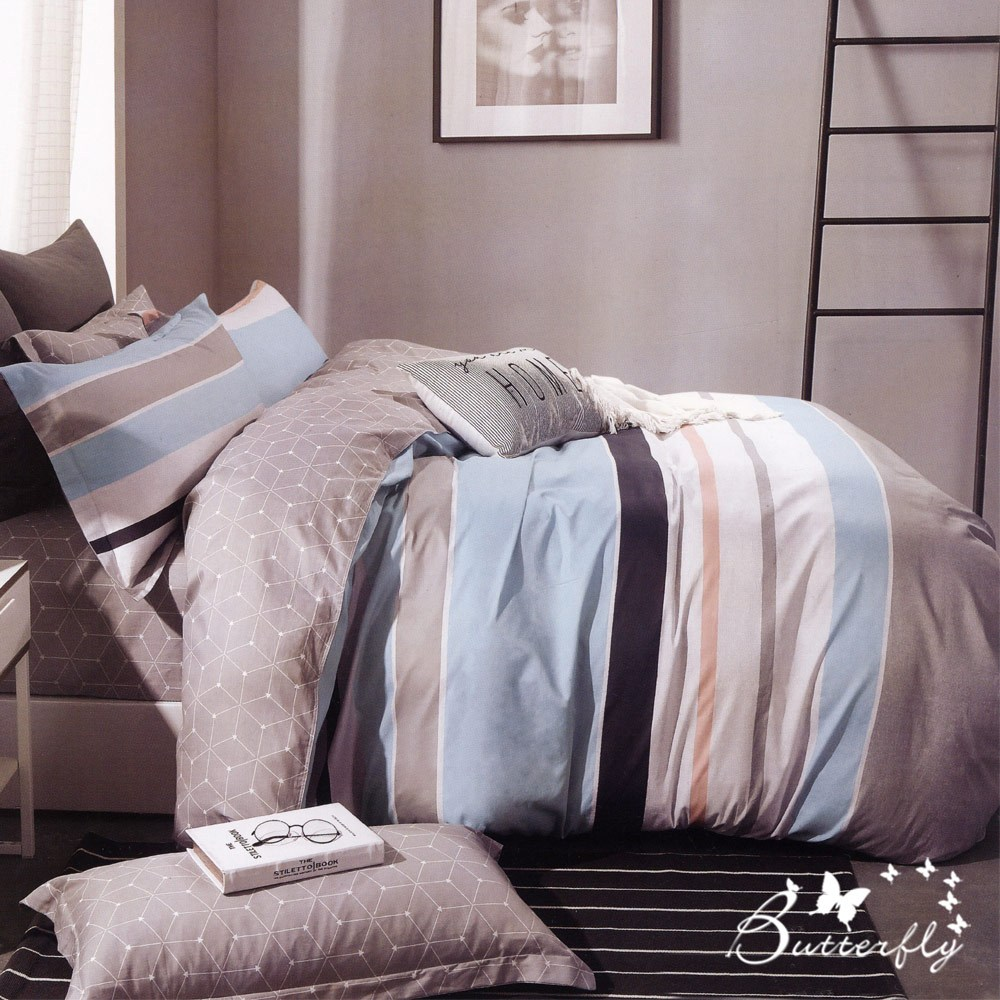 BUTTERFLY-純棉三件式枕套床包組-華麗風尚-藍(加大)