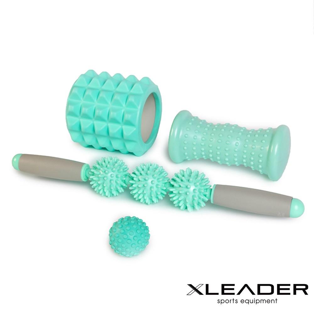Leader X 健身美體紓壓 筋絡按摩神器滾輪筋膜球4件組 薄荷綠