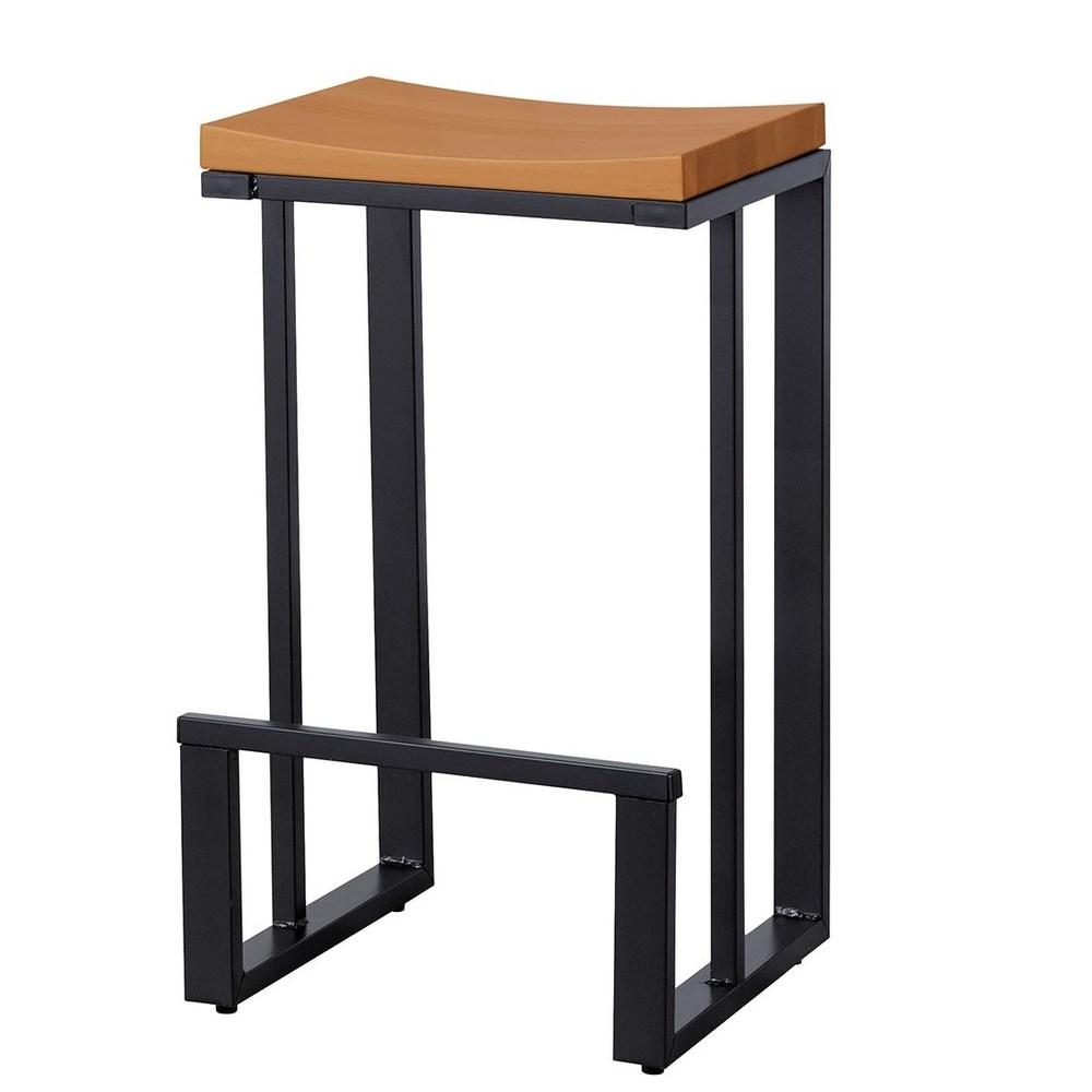 奧斯丁實木面黑鐵低吧椅