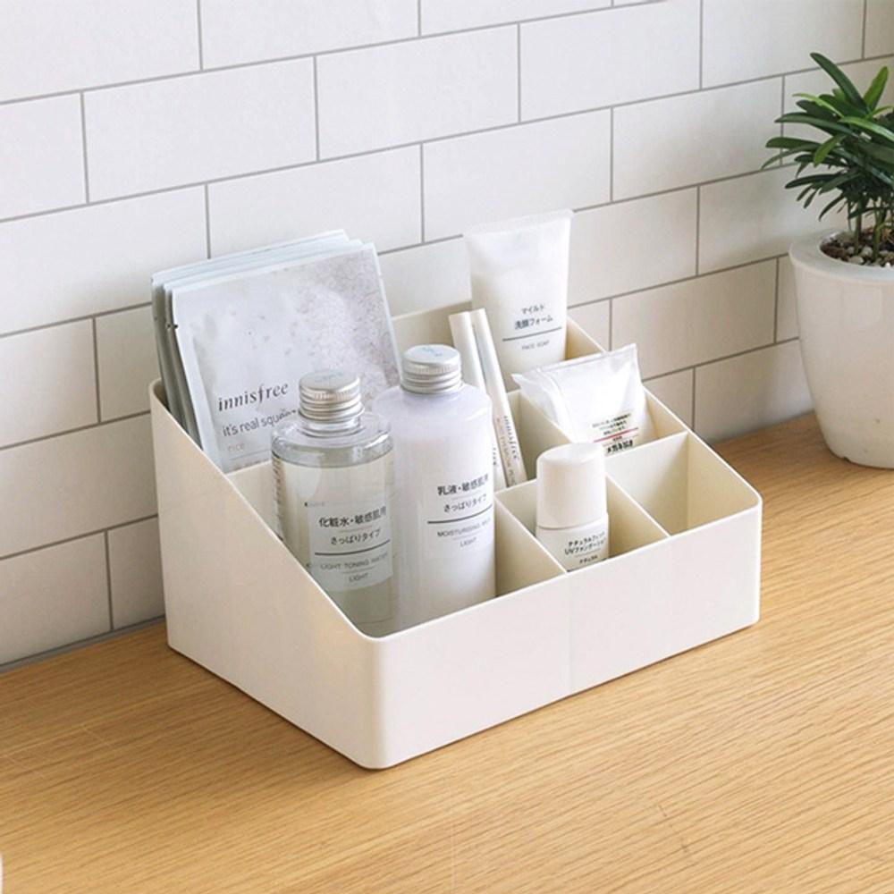 【KM生活】日式簡約多功能化粧品/首飾收納盒/桌面儲物盒(6格)
