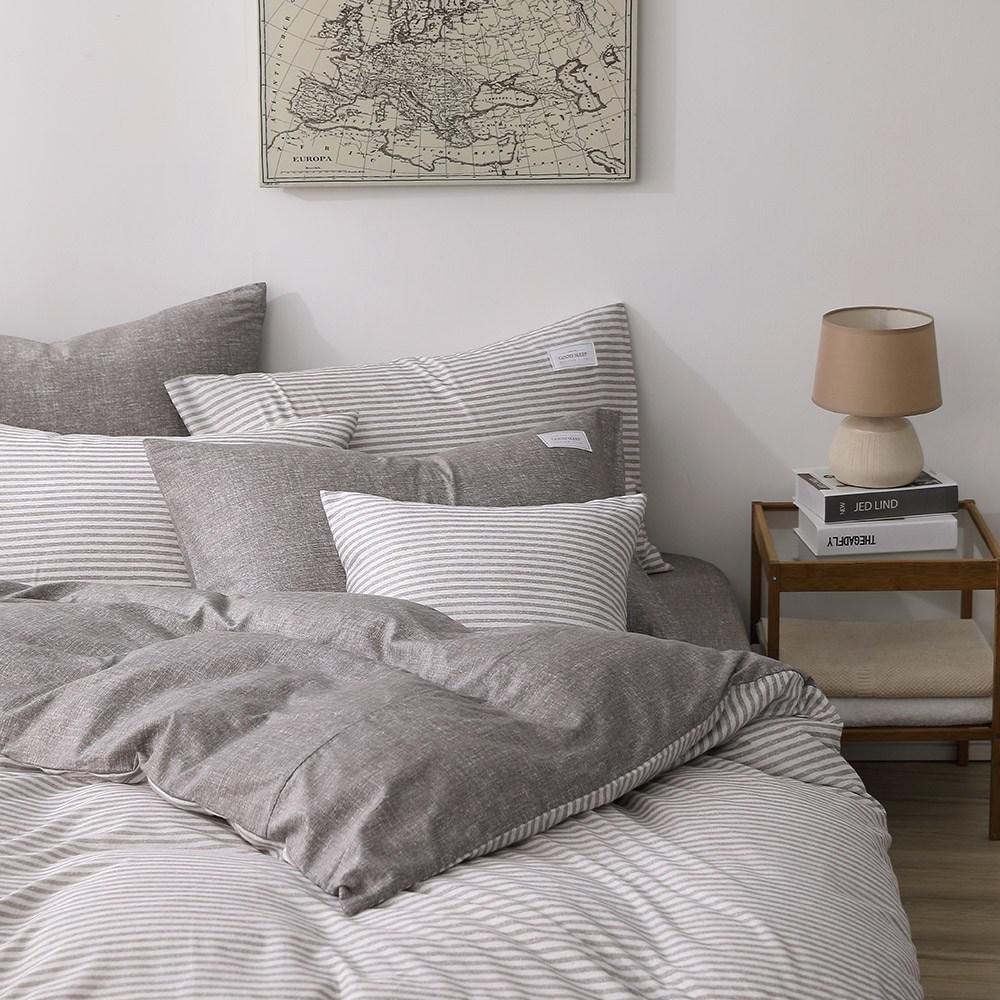 GOLDEN-TIME恣意簡約200織精梳棉兩用被床包組(咖-特大)