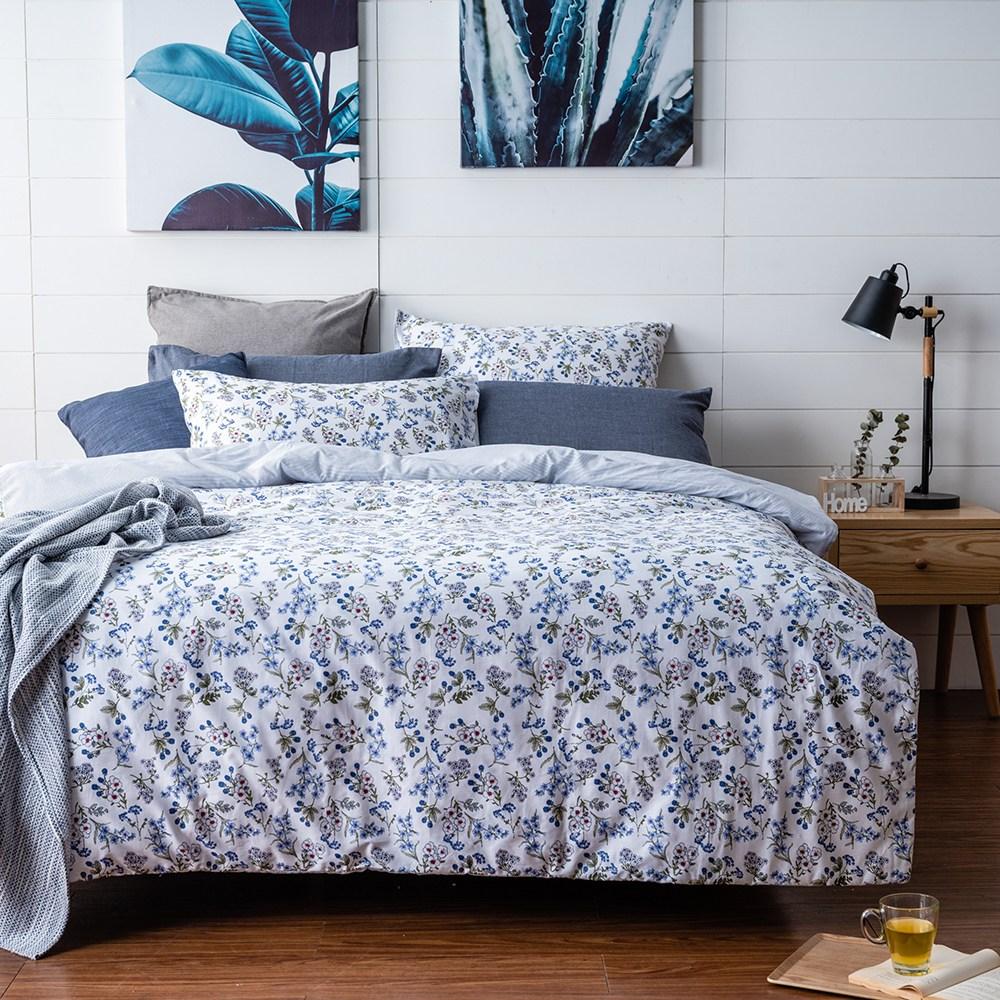 台灣製純棉兩用被床包枕套組-雙人四件組-花舞春天-藍
