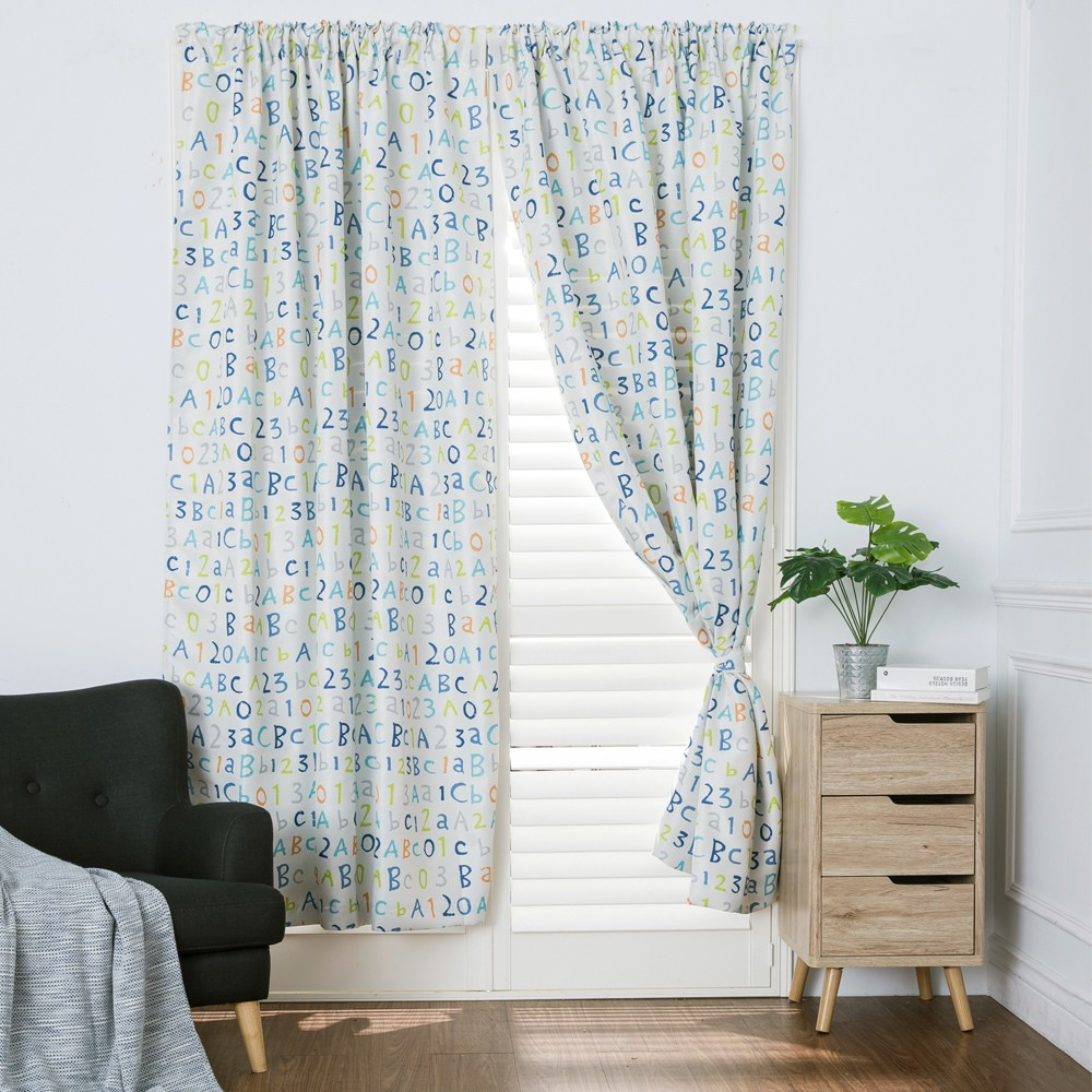 童趣字母防蟎抗菌遮光窗簾 寬290x高240cm