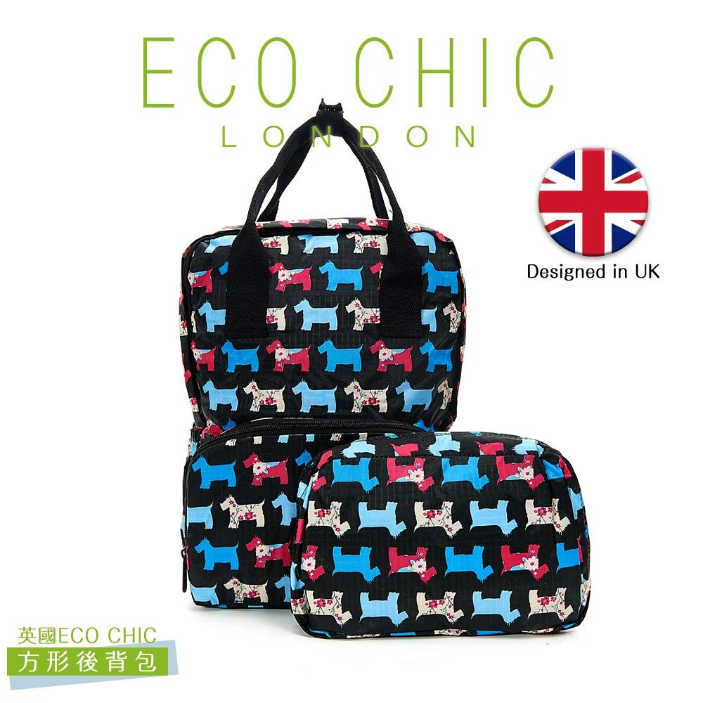 英國ECO CHIC時尚可折疊方形後背包-雪納黑